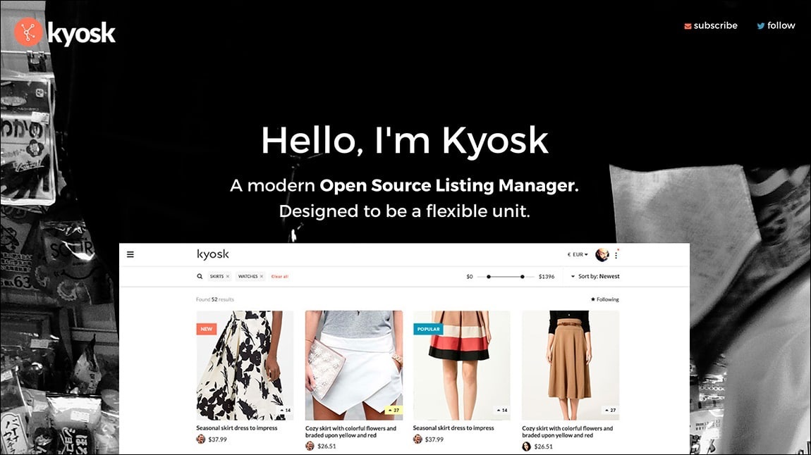 Kyosk - Complete front-end using HTML5, Sass, Vue.js, jQuery, and Gulp